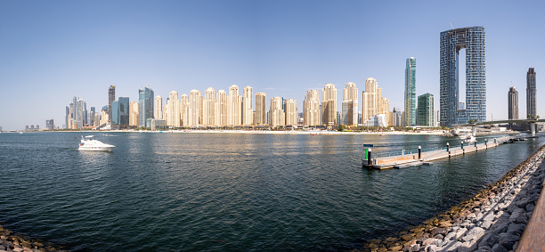 Dubai, UAE, 02/07/2020. Panoramic landscape view of Jumeirah Beach Residence (JBR), The Address Residences Jumeirah Resort beachfront skyline and bay seen from Bluewaters Island, sunny day.