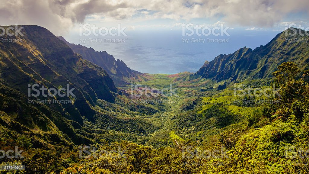 Panoramic landscape view of Kalalau valley and Na Pali cliffs stock photo