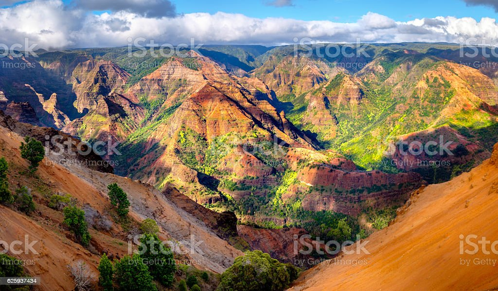 Panoramic landscape view of Waimea Canyon in Kauai, Maui stock photo