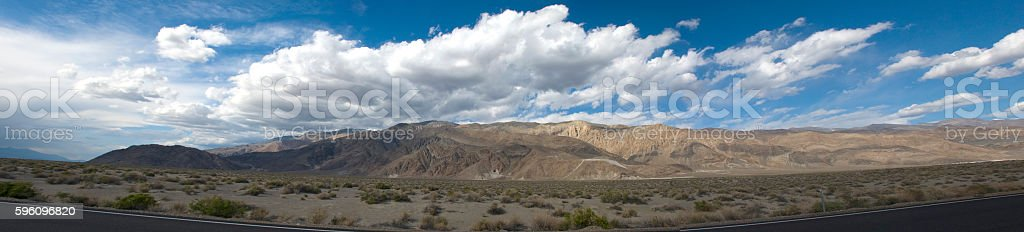 Panoramic landscape with clouds in Death Valley, California royalty-free stock photo