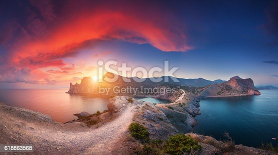 istock Panoramic landscape with mountains, sea and beautiful sky in summer 618863568