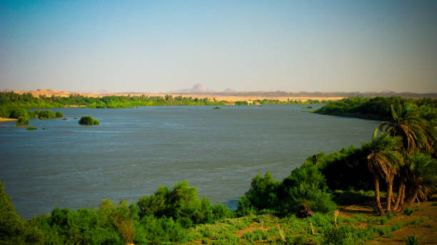 panoramic landscape with the nile river near sai island,kerma, sudan - sudan stock photos and pictures