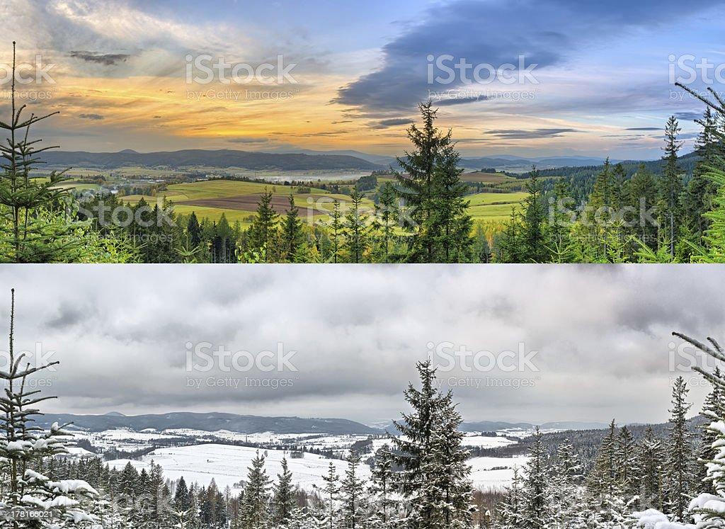 Panoramic landscapes - 2 seasons stock photo