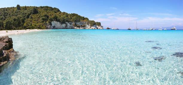 panoramic lanscape of Voutoumi beach Antipaxos island Greece stock photo