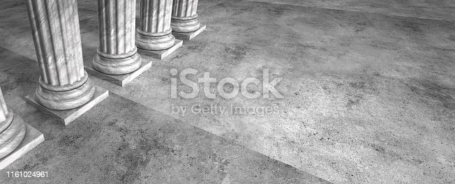Panoramic law or business background abstract with stone columns