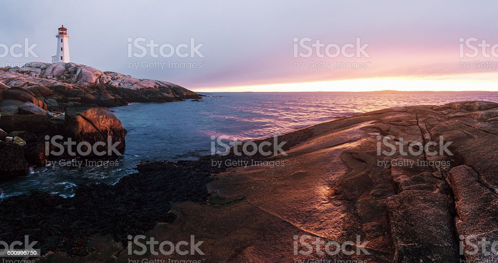 Panoramic Lighthouse Sunset stock photo