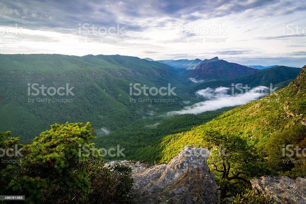 Panoramic Linville Vista stock photo