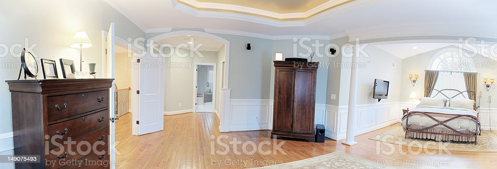 Panoramic Master Suite Interior royalty-free stock photo