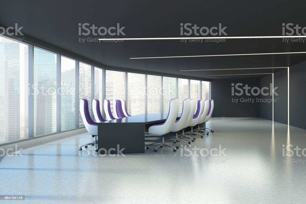 Panoramic meeting room, purple armchairs royalty-free stock photo