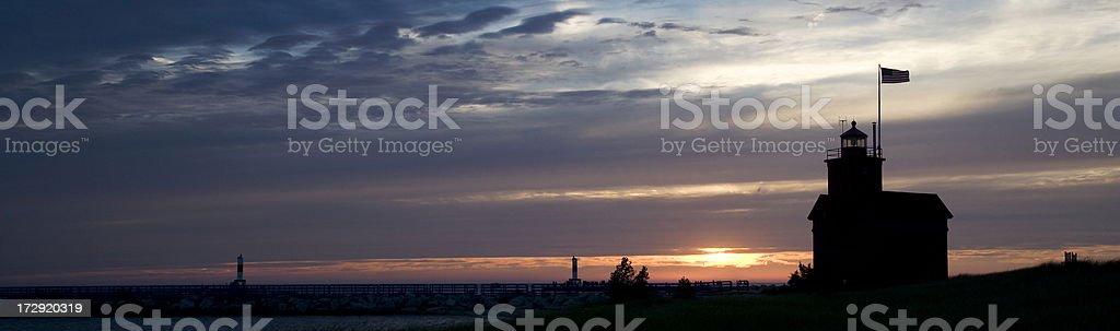 Panoramic Michigan lighthouse stock photo