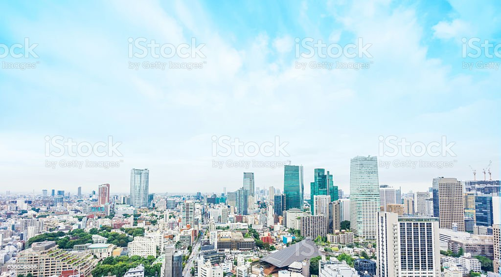Panoramic modern city aerial view in Tokyo, Japan stock photo