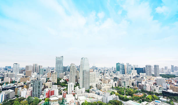 panoramic modern city aerial view in tokyo, japan - 住宅購入 ストックフォトと画像