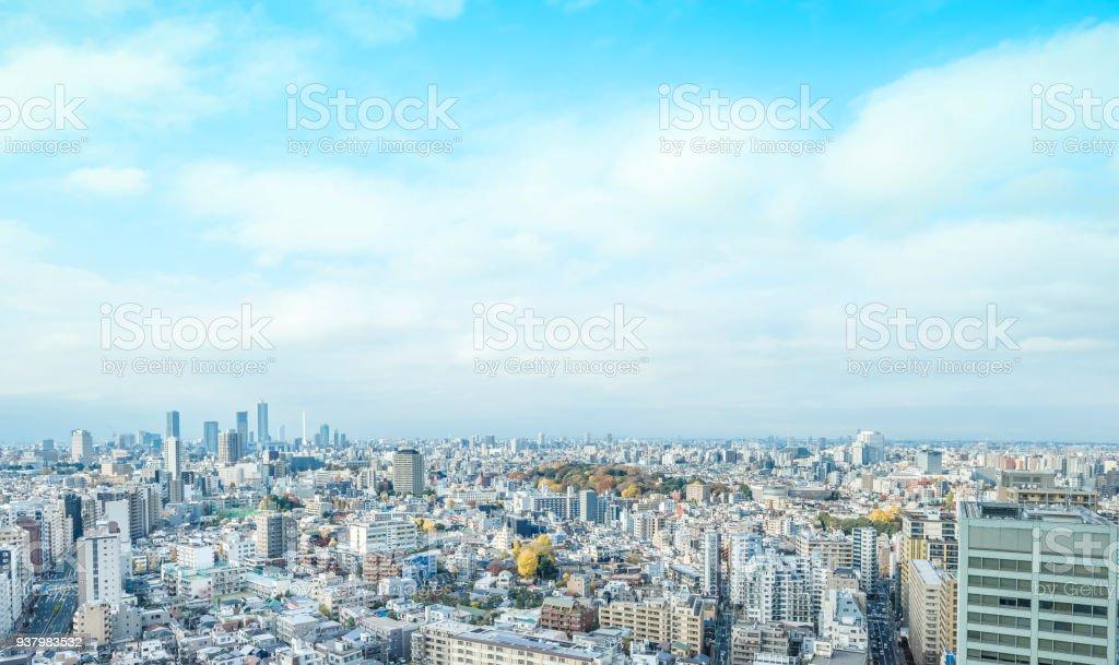 panoramic modern city skyline aerial view of bunkyo, tokyo, Japan stock photo