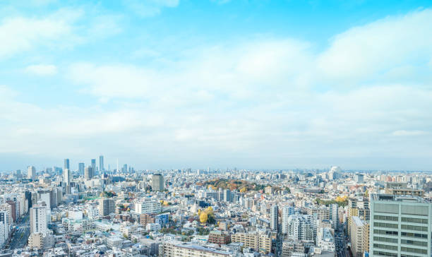 panoramic modern city skyline aerial view of bunkyo, tokyo, Japan - foto stock