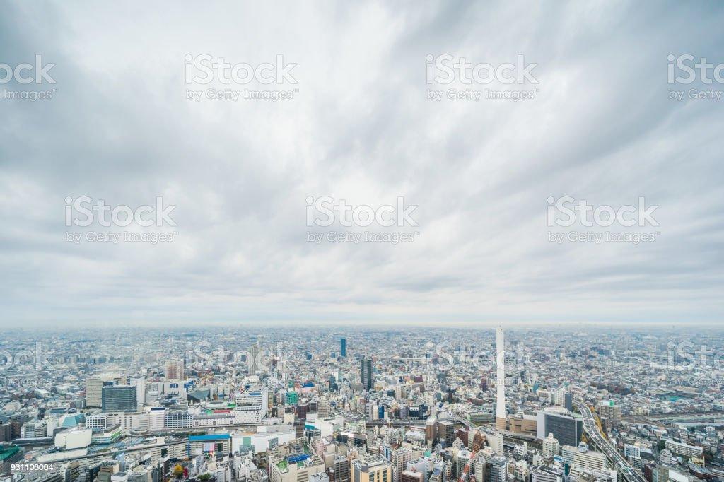 panoramik modern şehir manzarası havadan görünümü Ikebukuro ve expressway, tokyo, Japonya - Royalty-free Akşam karanlığı Stok görsel