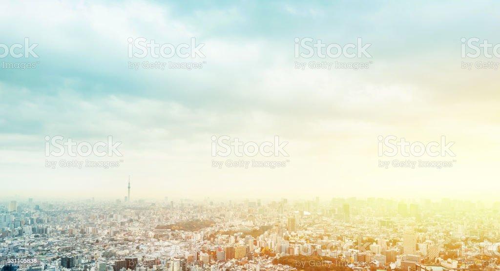 panoramik modern şehir manzarası hava görünümünü Ikebukuro, tokyo, Japonya - Royalty-free Akşam karanlığı Stok görsel