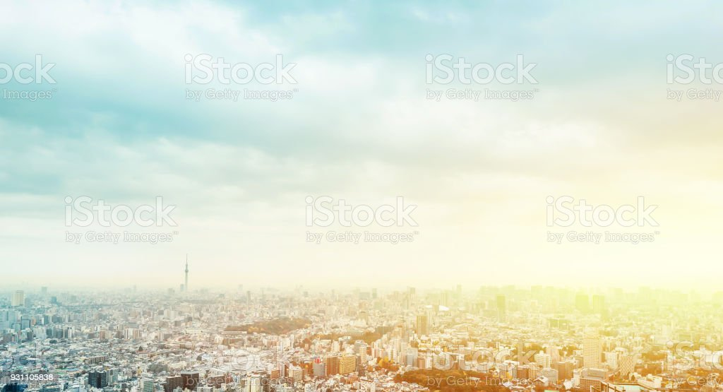 panoramic modern city skyline aerial view of Ikebukuro in tokyo, Japan stock photo