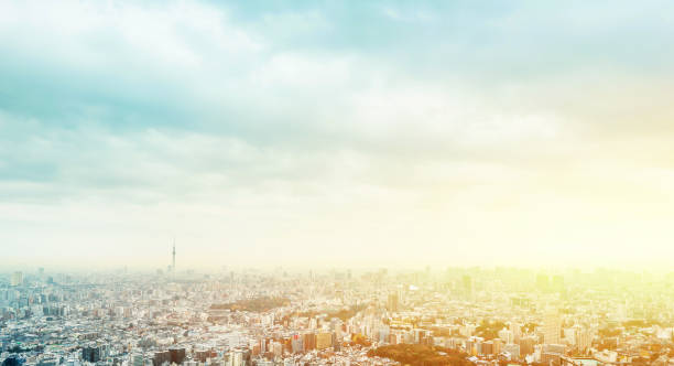 panoramic modern city skyline aerial view of Ikebukuro in tokyo, Japan - foto stock