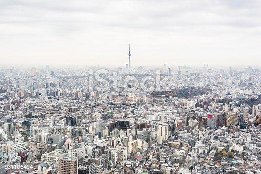 931105838 istock photo panoramic modern city skyline aerial view of Ikebukuro  with grey sky in tokyo, Japan 931106454