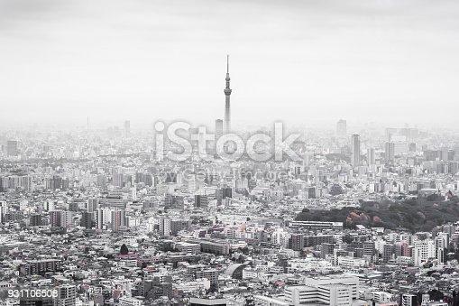 931105838 istock photo panoramic modern city skyline aerial view of Ikebukuro  with grey sky in tokyo, Japan 931106508