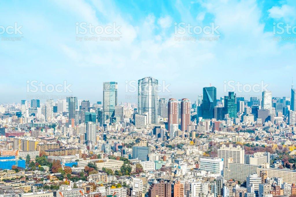 panoramic modern city skyline aerial view of Mori building, Roppongi hill in Yebisu, Tokyo, Japan stock photo