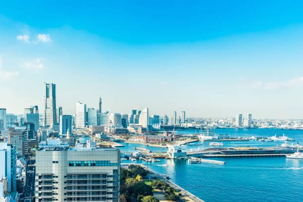 panoramic modern city skyline aerial view under blue sky in yokohama, japan - prefektura kanagawa zdjęcia i obrazy z banku zdjęć