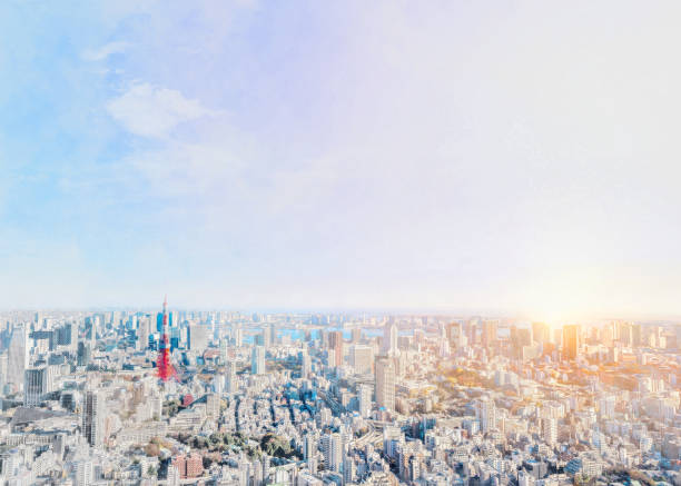 panoramic modern city skyline bird eye aerial view of odaiba in Roppongi Hill, Tokyo, Japan. Mix hand drawn sketch illustration stock photo