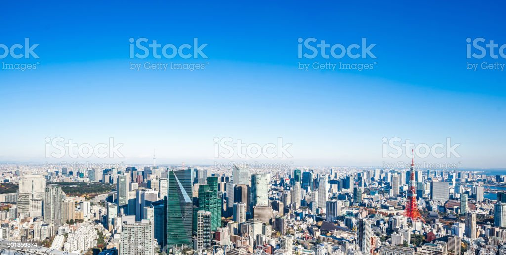 panoramic modern city skyline bird eye aerial view of tokyo tower and skytree stock photo