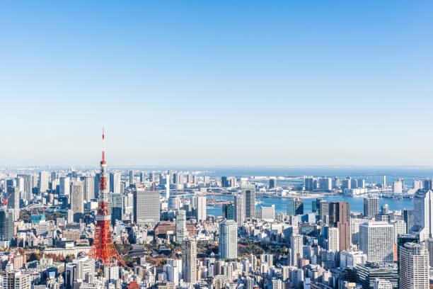 panoramic modern city skyline bird eye aerial view of tokyo tower stock photo