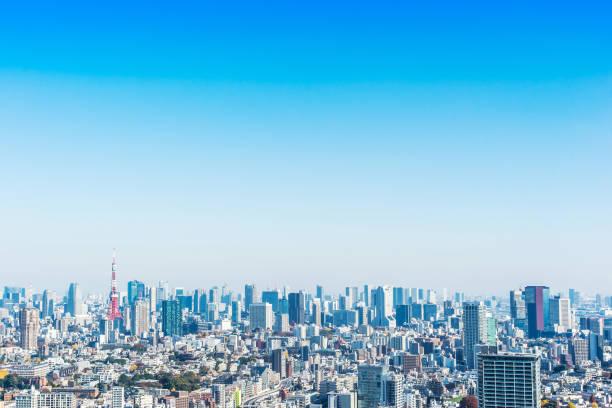 近代的な市街のパノラマ スカイライン空中の鳥瞰図東京タワー - 東京 ストックフォトと画像