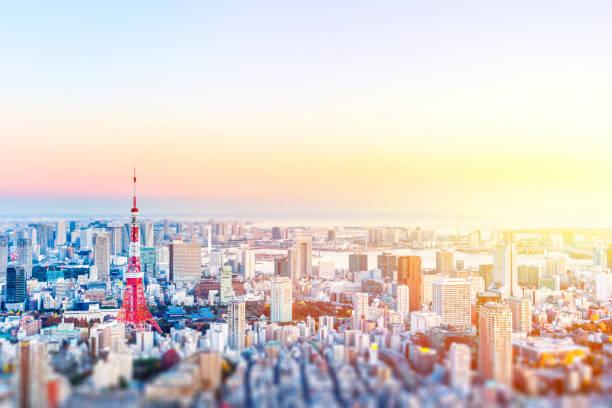近代的な市街のパノラマ スカイライン空中の鳥瞰図東京ミニチュア チルトシフト効果 - 東京 ストックフォトと画像