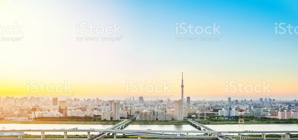 panoramic modern city skyline bird eye aerial view with tokyo skytree under dramatic sunset glow and beautiful cloudy sky in Tokyo, Japan stock photo