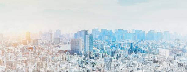 パノラマモダンシティスカイラインミックススケッチエフェクト - 街 日本 ストックフォトと画像