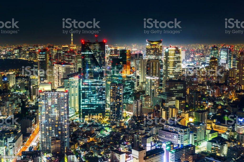 panoramic modern city skyline of skytree and Tokyo Metropolitan Expressway junction at night stock photo