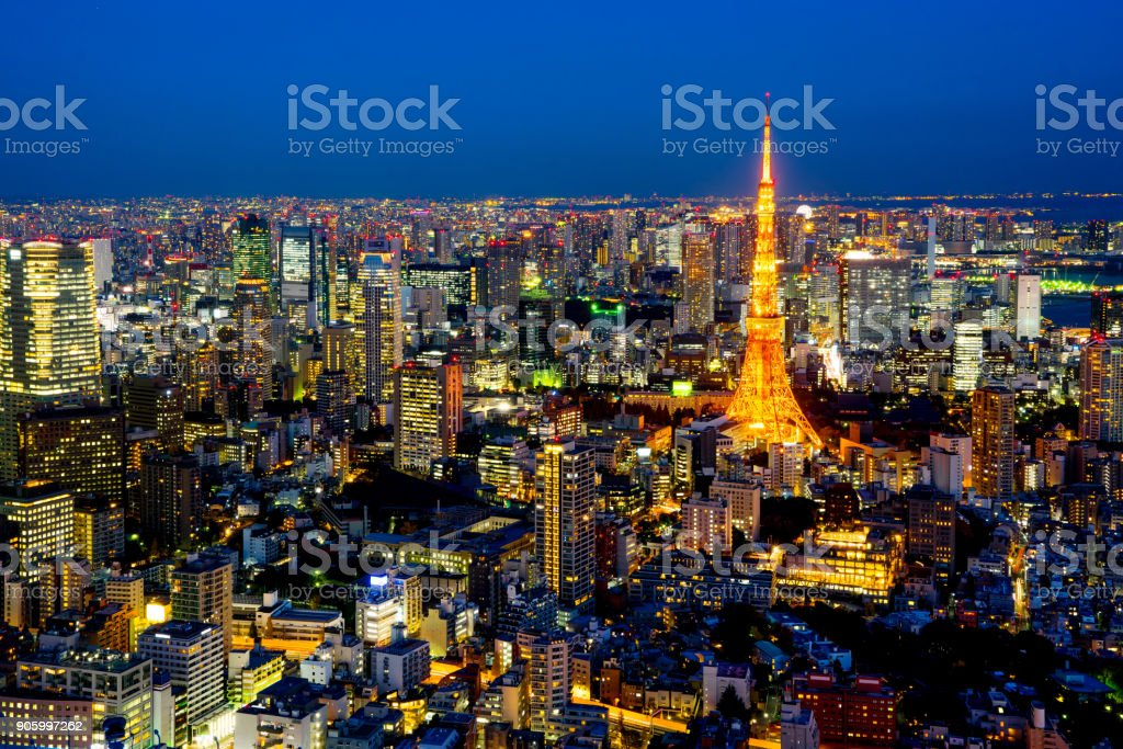 panoramic modern city skyline of Tokyo Tower and Tokyo Metropolitan Expressway junction at night stock photo