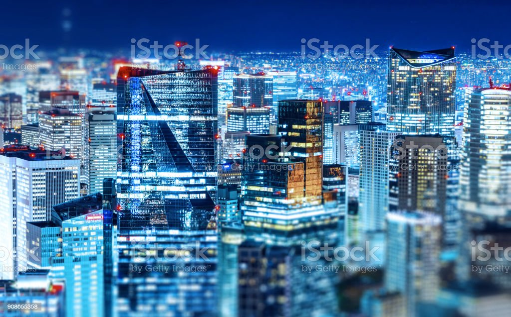 panoramic modern city skyline with Miniature Tilt-shift effect stock photo
