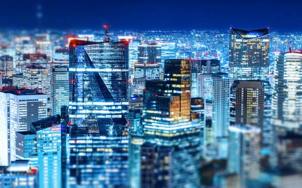 panoramic modern city skyline with Miniature Tilt-shift effect stock photo