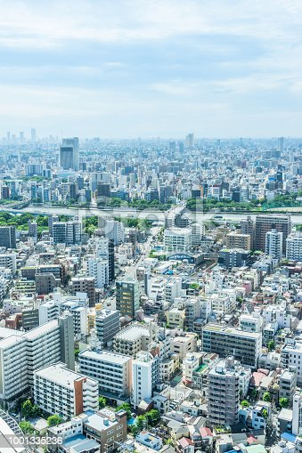 1001353450 istock photo panoramic modern city urban skyline bird eye aerial view under sun & blue sky in Tokyo, Japan 1001335236