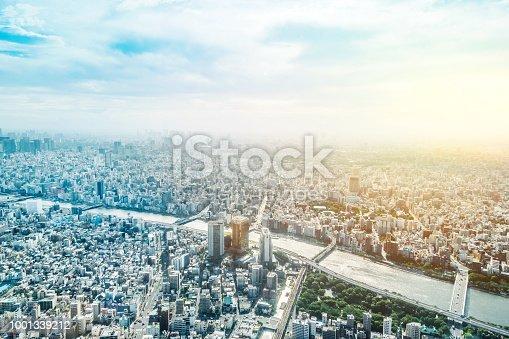 1001353450 istock photo panoramic modern city urban skyline bird eye aerial view under sun & blue sky in Tokyo, Japan 1001339212