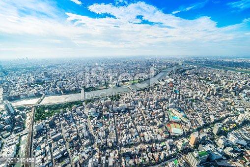 1001353450 istock photo panoramic modern city urban skyline bird eye aerial view under sun & blue sky in Tokyo, Japan 1001342458