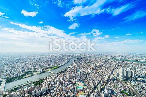 1001353450 istock photo panoramic modern city urban skyline bird eye aerial view under sun & blue sky in Tokyo, Japan 1001342746