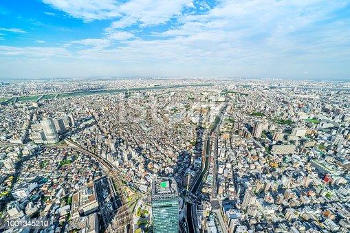 1001353450 istock photo panoramic modern city urban skyline bird eye aerial view under sun & blue sky in Tokyo, Japan 1001345210