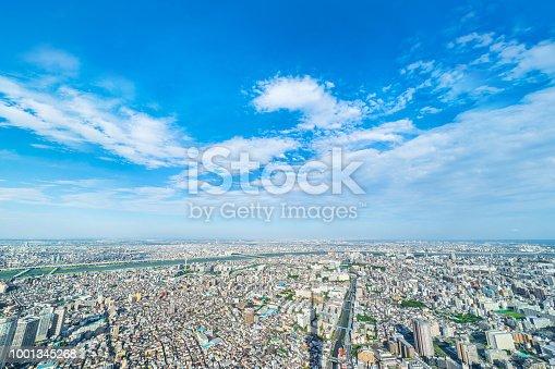 1001353450 istock photo panoramic modern city urban skyline bird eye aerial view under sun & blue sky in Tokyo, Japan 1001345268
