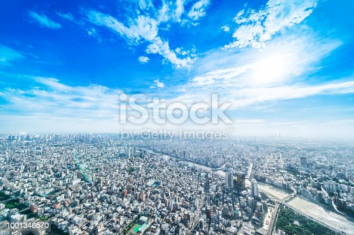 1001353450 istock photo panoramic modern city urban skyline bird eye aerial view under sun & blue sky in Tokyo, Japan 1001346570
