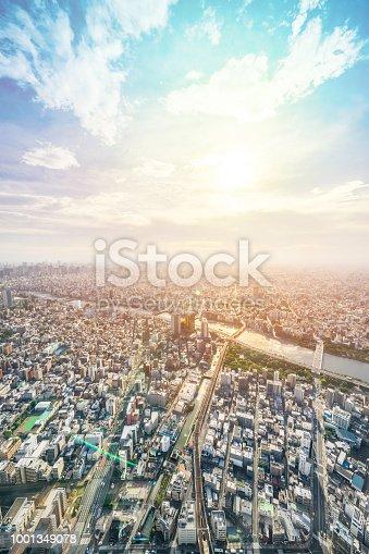 1001353450 istock photo panoramic modern city urban skyline bird eye aerial view under sun & blue sky in Tokyo, Japan 1001349078