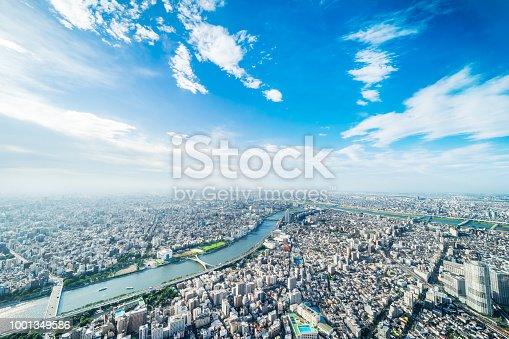1001353450 istock photo panoramic modern city urban skyline bird eye aerial view under sun & blue sky in Tokyo, Japan 1001349586