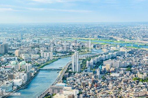 1001353450 istock photo panoramic modern city urban skyline bird eye aerial view under sun & blue sky in Tokyo, Japan 1001350838