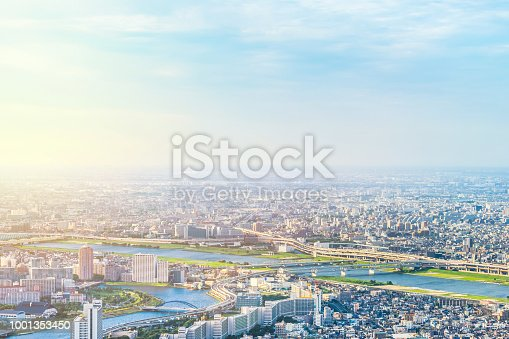 istock panoramic modern city urban skyline bird eye aerial view under sun & blue sky in Tokyo, Japan 1001353450