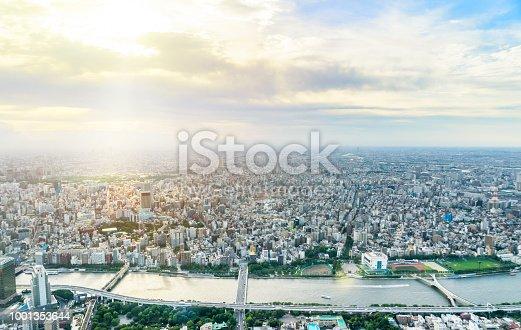 1001353450 istock photo panoramic modern city urban skyline bird eye aerial view under sun & blue sky in Tokyo, Japan 1001353644