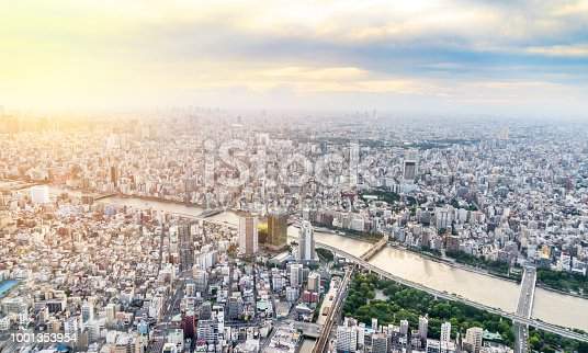 istock panoramic modern city urban skyline bird eye aerial view under sun & blue sky in Tokyo, Japan 1001353954